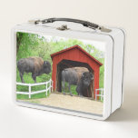 """Funny Buffalo At The Red Covered Bridge Metal Lunch Box<br><div class=""""desc"""">Great gift idea.</div>"""