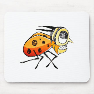 Funny Bug Running Hand Drawn Illustration Mouse Pad