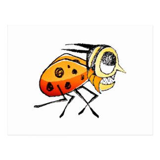 Funny Bug Running Hand Drawn Illustration Postcard