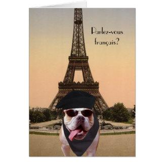 Funny Bull Dog French Birthday Card