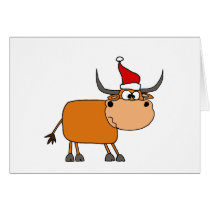 Funny Bull in Santa Hat Christmas Design Card