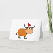 Funny Bull in Santa Hat Christmas Design Holiday Card