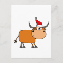 Funny Bull in Santa Hat Christmas Design Holiday Postcard