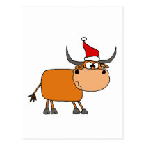 Funny Bull in Santa Hat Christmas Design Postcard
