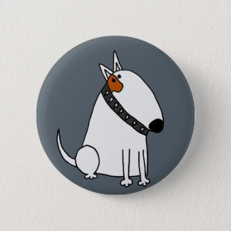 Funny Bull Terrier Dog Art Pinback Button