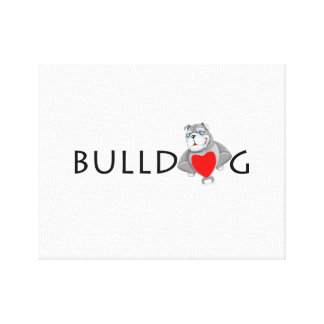 Funny Bulldog Cartoon Love Red Heart Canvas Print