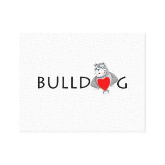 Funny Bulldog Cartoon Love Red Heart Canvas Print