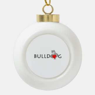 Funny Bulldog Cartoon Love Red Heart Ceramic Ball Christmas Ornament