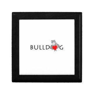 Funny Bulldog Cartoon Love Red Heart Jewelry Box