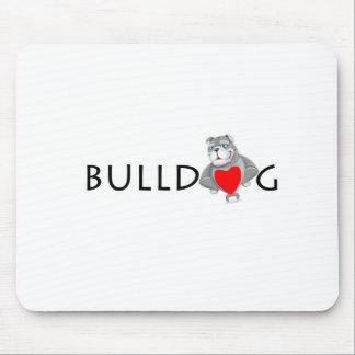 Funny Bulldog Cartoon Love Red Heart Mouse Pad