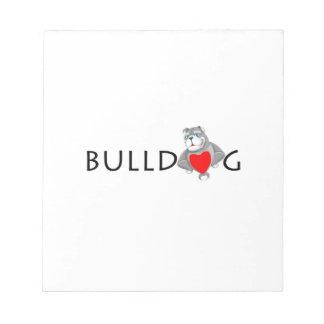 Funny Bulldog Cartoon Love Red Heart Notepad