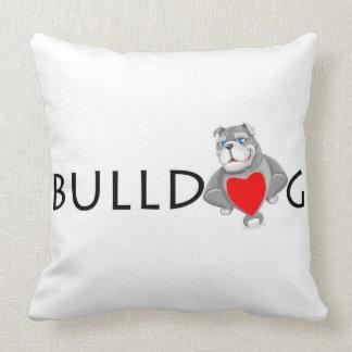 Funny Bulldog Cartoon Love Red Heart Throw Pillow