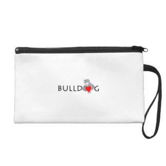 Funny Bulldog Cartoon Love Red Heart Wristlet Purse