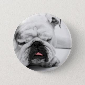 Funny BullDog Dog Tired Pinback Button