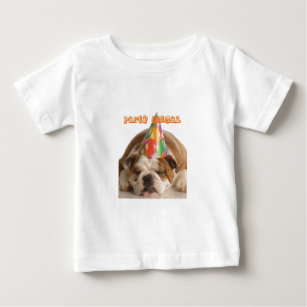 6353ec04 Funny Bulldog Gifts-Party Animal Sleeping Bulldog Baby T-Shirt