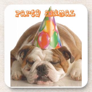 Funny Bulldog Gifts-Party Animal Sleeping Bulldog Beverage Coaster