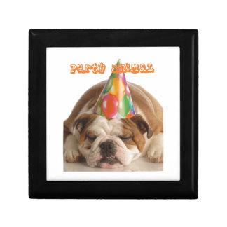 Funny Bulldog Gifts-Party Animal Sleeping Bulldog Gift Box