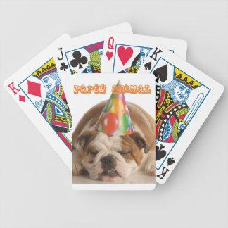Funny Bulldog Gifts-Party Animal Sleeping Bulldog Bicycle Playing Cards