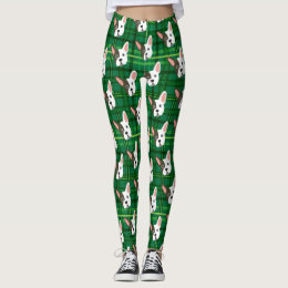 Funny Bulldog Green Plaid Trendy Cute Dog Leggings