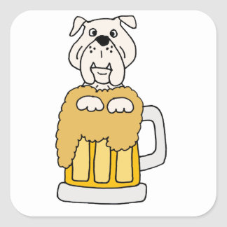 Funny Bulldog in a Beer Mug Square Sticker
