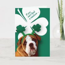 Funny Bulldog. St. Patrick's Day Fun Greeting Card