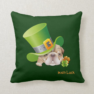 Funny Bulldog. St.Patrick's Day Gift Pillow