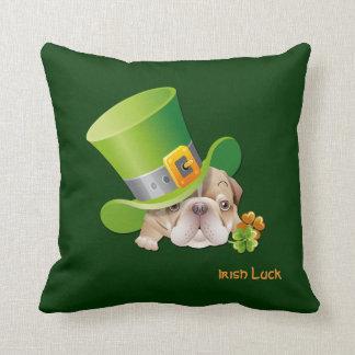 Funny Bulldog. St.Patrick's Day Gift Pillow Throw Pillows
