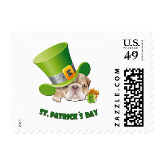 Funny Bulldog St.Patrick's Day Postage Stamps