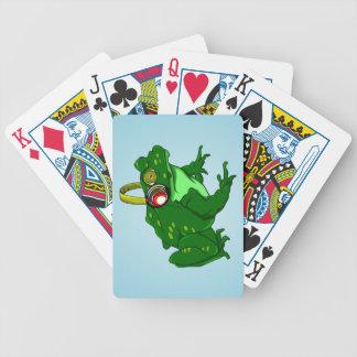 Funny Bullfrog Wearing Headphones Bicycle Playing Cards