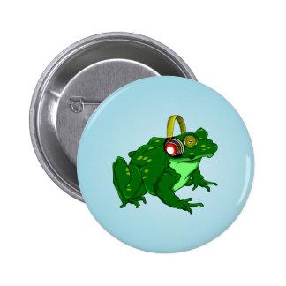 Funny Bullfrog Wearing Headphones Button
