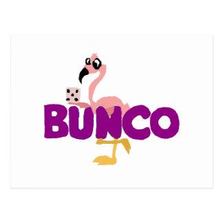 Funny Bunco Dice Game and Pink Flamingo Postcard