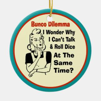 Funny Bunco Dilemma With Retro Woman Ceramic Ornament