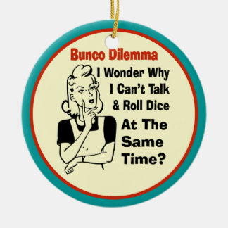 Funny Bunco Dilemma With Retro Woman Double-Sided Ceramic Round Christmas Ornament