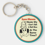 Funny Bunco Dilemma With Retro Woman Basic Round Button Keychain