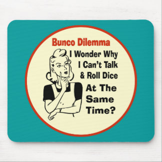 Funny Bunco Dilemma With Retro Woman Mouse Pad