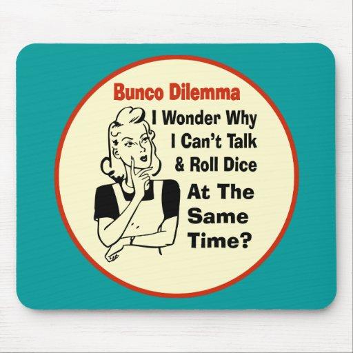 Funny Bunco Dilemma With Retro Woman Mousepad