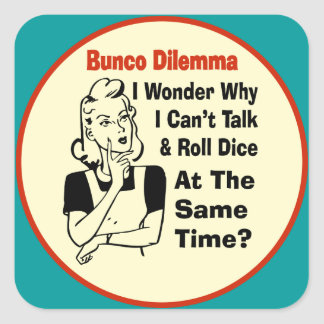 Funny Bunco Dilemma With Retro Woman Square Sticker