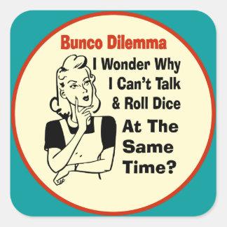 Funny Bunco Dilemma With Retro Woman Square Sticker