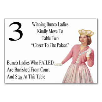 Funny Bunco Table Cards Queen #3