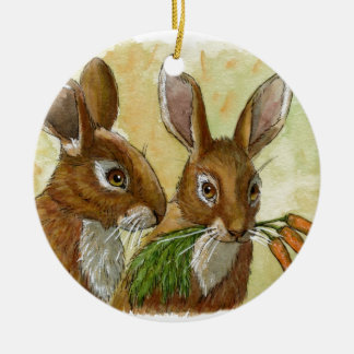 funny bunnies-little gift for you by schukina 529 ceramic ornament