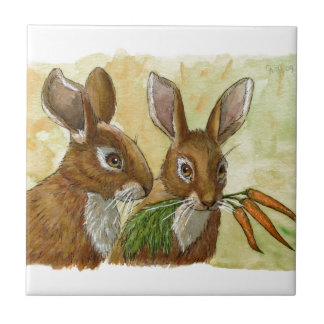 funny bunnies-little gift for you by schukina 529 small square tile