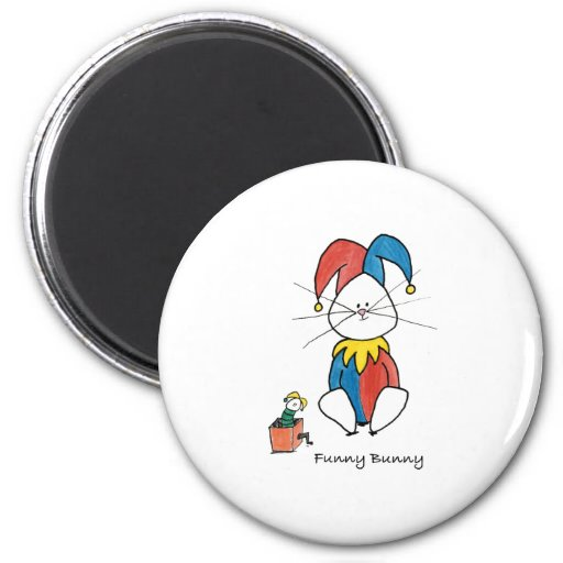 Funny Bunny 2 Inch Round Magnet
