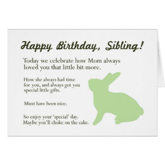 Funny Bunny Birthday card for Brother or Sister