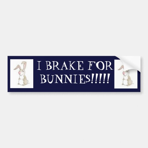funny bunny, funny bunny, I BRAKE FOR BUNNIES!!!!! Bumper Sticker