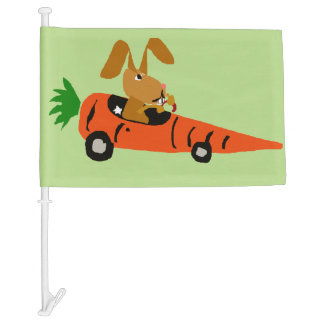 Funny Bunny Rabbit Driving Carrot Car Car Flag