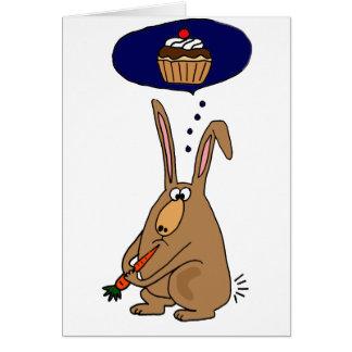 Funny Bunny Rabbit Hating Carrots Cartoon Card