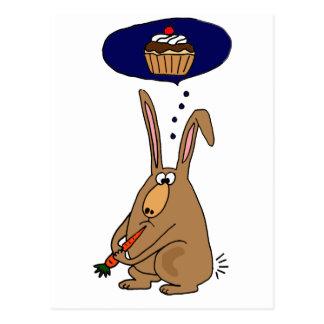 Funny Bunny Rabbit Hating Carrots Cartoon Postcard