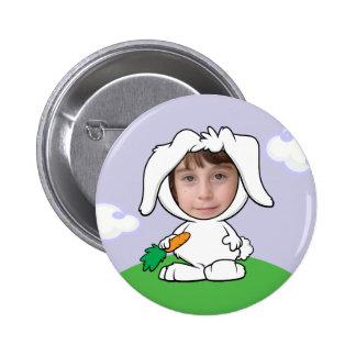 Funny Bunny Rabbit Photo Face Template Button