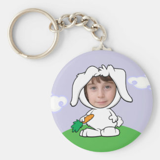 Funny Bunny Rabbit Photo Face Template Keychain