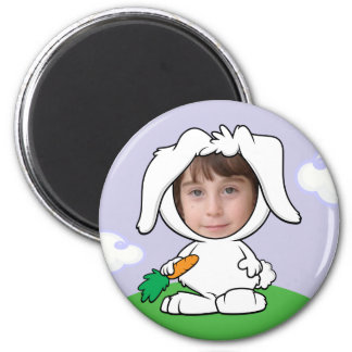 Funny Bunny Rabbit Photo Face Template 2 Inch Round Magnet